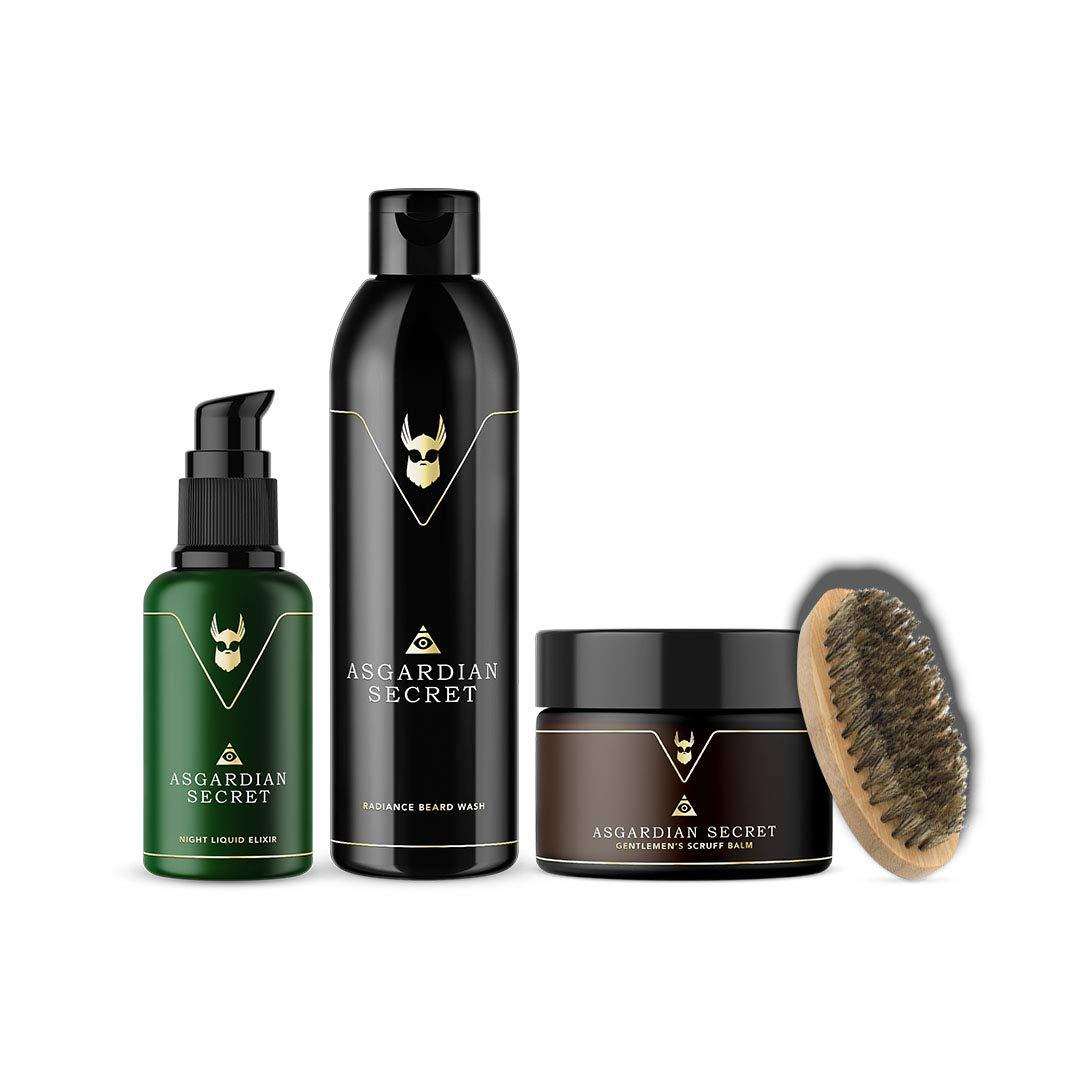 The Beard Struggle Starter Kit Asgardian Secret - for Men & Beard Care W/Scruff Beard Balm, Beard Wash, Night OIL,100% Natural & Organic