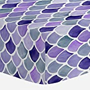 Carousel Designs Lilac Watercolor Scales Crib Sheet - Organic 100% Cotton Fitted Crib Sheet - Made in The USA