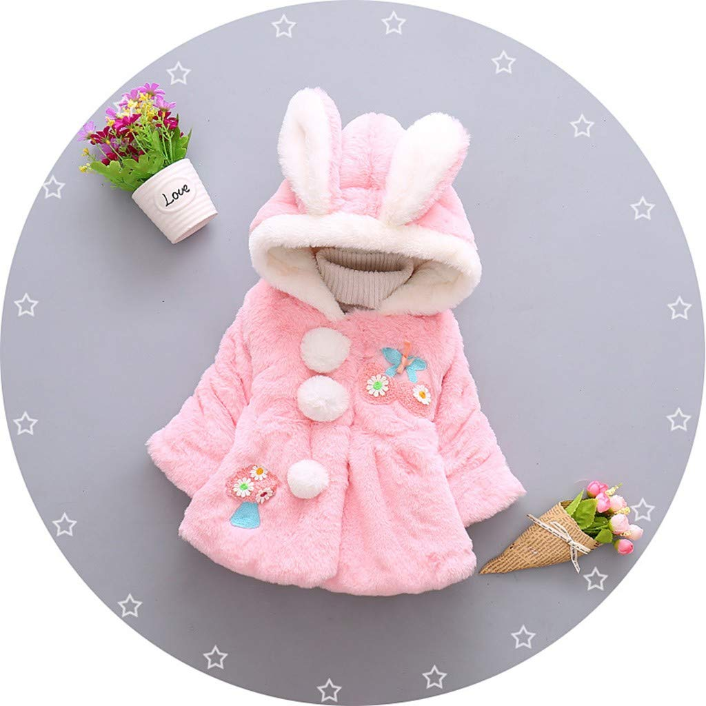 Fuzzy Cotton Coat for Baby Little Girls Winter Faux Fur Bunny Ear Warm Cloak Jacket Outwear Hood (18-24 Months, Pink) by sweetnice baby clothing