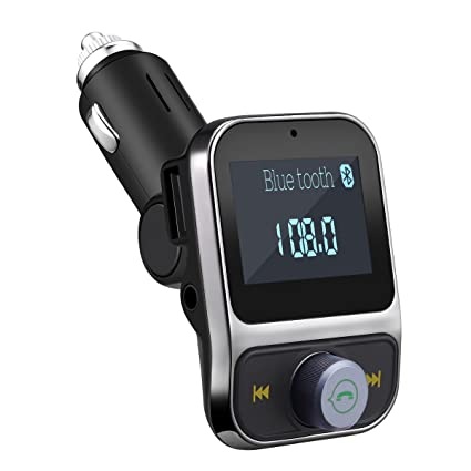 Alloet Wireless Bluetooth FM Transmitter MP3 Player Car Kit Charger with 3.5MM Jack Port /& Built-in Mic Blue