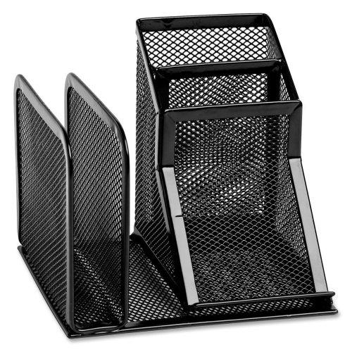 Wire Mesh Desk Organizer with Pencil Storage, 5 3/4 x 5 1/8 x 5 1/8, Black -