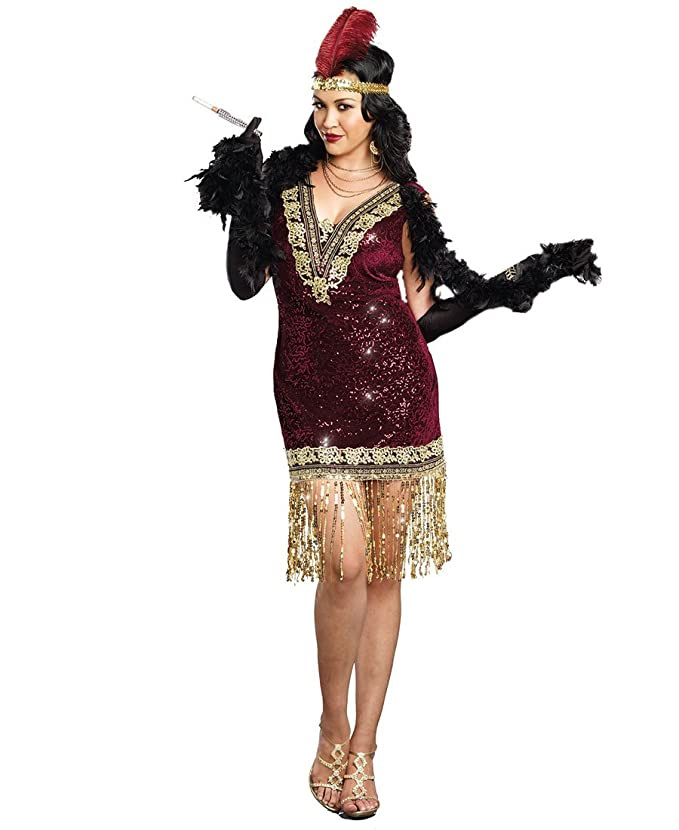 Flapper Costumes, Flapper Girl Costume Plus Size Sophisticated Lady Sexy Womens Costume $41.62 AT vintagedancer.com