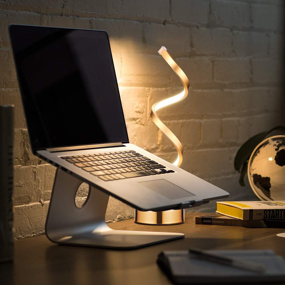 DeeCozy Spiral LED Tischlampe,Schreibtischlampe LED,Smart Dimmable Curved LED Schreibtischlampe,B/ürolampe Leselampe Buchlampe Arbeitslampe Design Warmwei/ßes Licht Acryl LED-Modellierungslampe