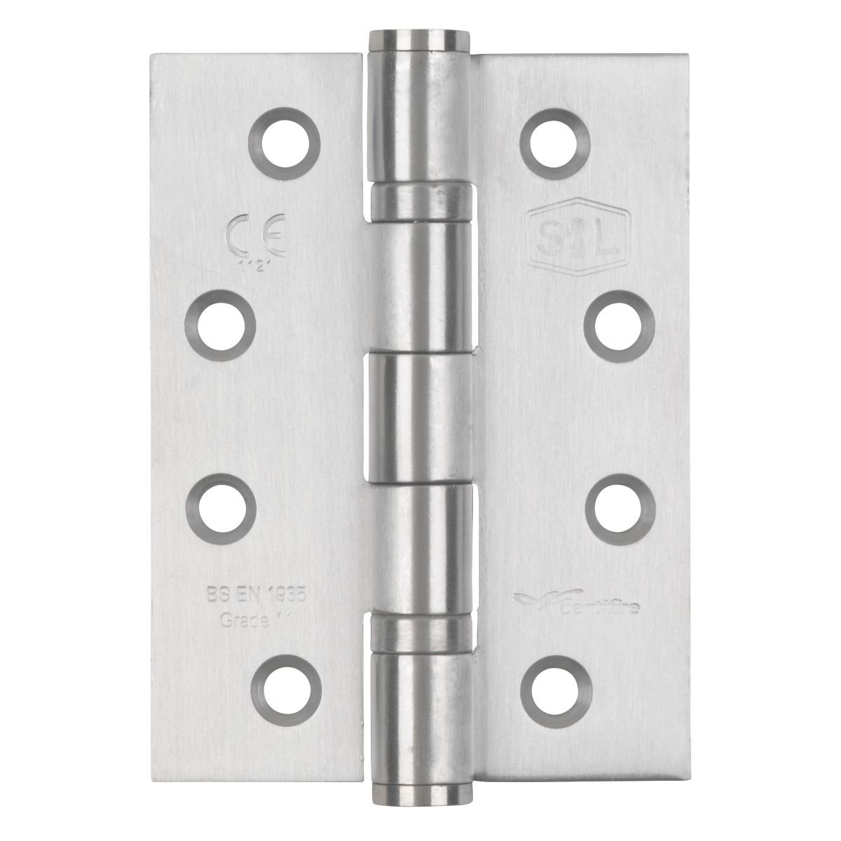 Smith & Locke Grade 11 Fire Door Ball Bearing Hinges Satin Stainless Steel 102 x 76mm 3 Pack