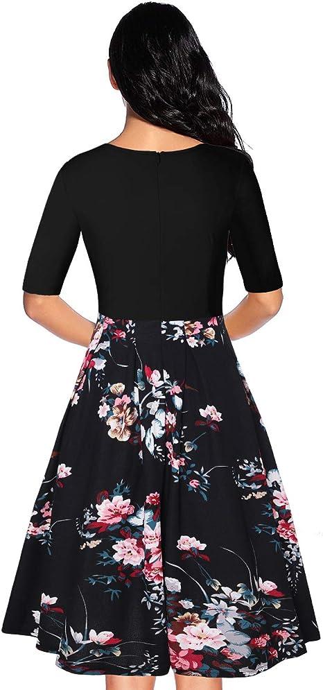 Vestito da Donna oten Stile Rockabilly Stile Vintage a Maniche Lunghe