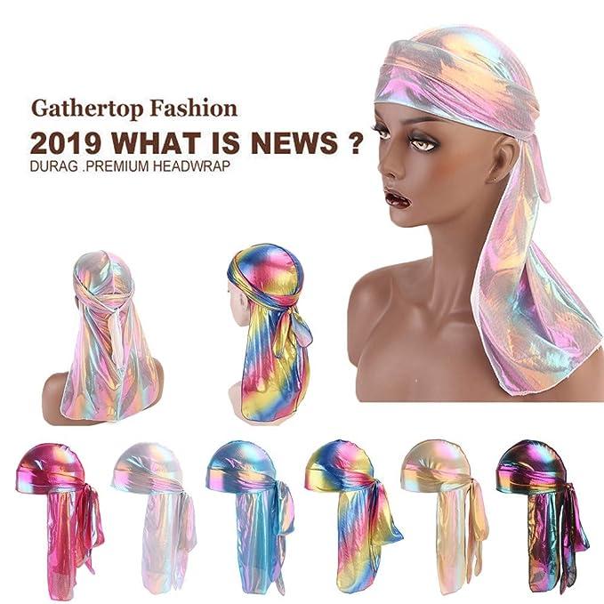 Amazon.com  AutumnFall Fashion Women s Sparkly Silk Polyester Durag Bandana  Headwear Colorful Men s Du Rag Wigs Turban Doo Rag Headband Pirate Hat Hair  ... 6d439e218afd