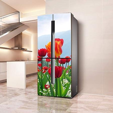 DEENLI Pegatinas Neveras,Autoadhesivo Pegatinas Puerta del Refrigerador, Cocina Comedor, Foto Hermosa del Tulipán: Amazon.es: Hogar
