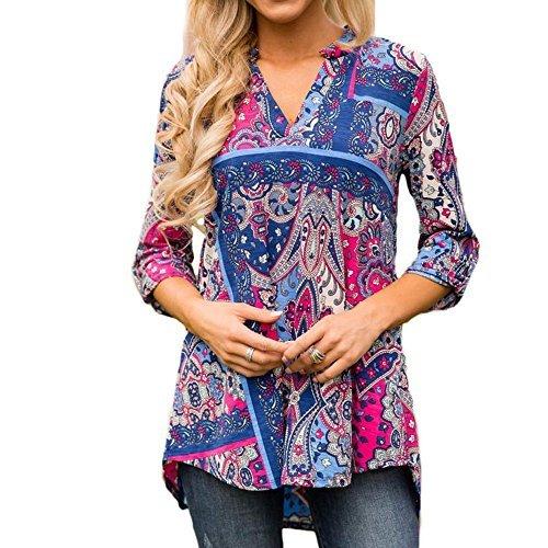 Paisley Jersey Print Dress (Jessica CC Women's Paisley Print Slight V Neck Tunic 3/4 Sleeve Blouse Shirt Tops (Small, Style 4))