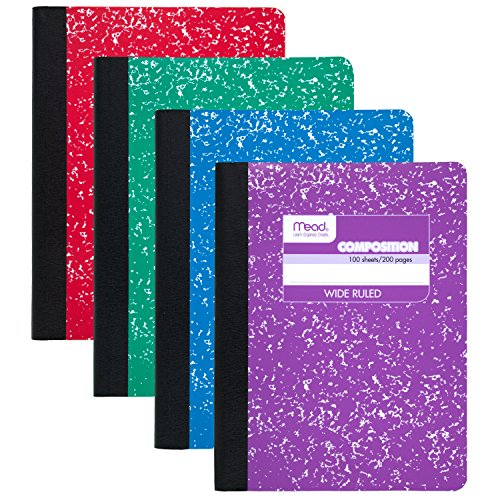 Mead Composition Books / Notebooks, Wide Ruled Paper, 100 sheets, 9-3/4