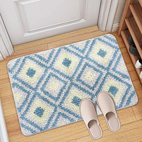 Lemecima Blue Bathroom Rug Bath Mat for Bathroom 32 x 20 Inches Bathroom Rug Water Absorbent Non-Slip Machine-Washable Thick Modern for Bathroom Blue& Yellow