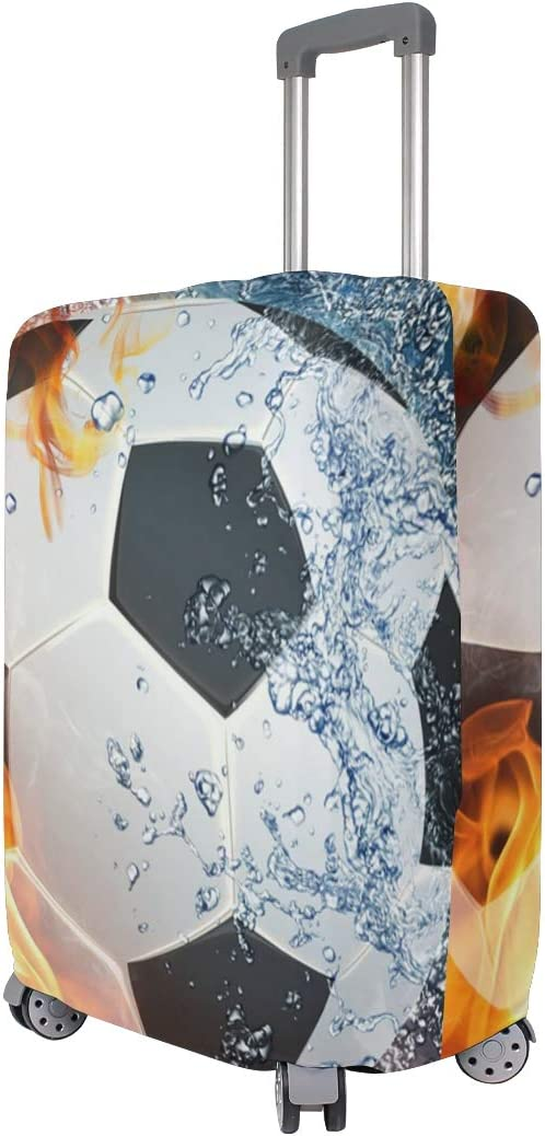 3D Football On Fire Print Luggage Protector Travel Luggage Cover Trolley Case Protective Cover Fits 18-32 Inch