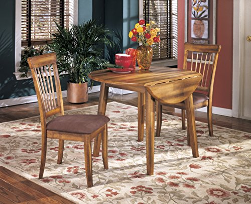 Berring Rustic Brown Dining Room Furniture Set, Round Drop Leaf Table with 2 Dining Upholstered Side Chair