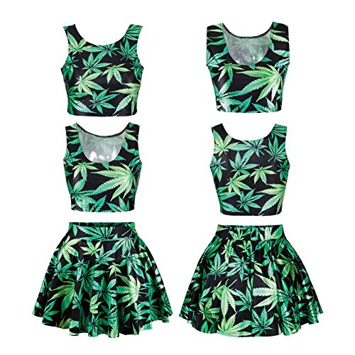 LOSHOW Teen Girls 3D Leaf Graphic Digital Print Crop Tank Top and Mini Pleated Skater Skirts Set for Women Green