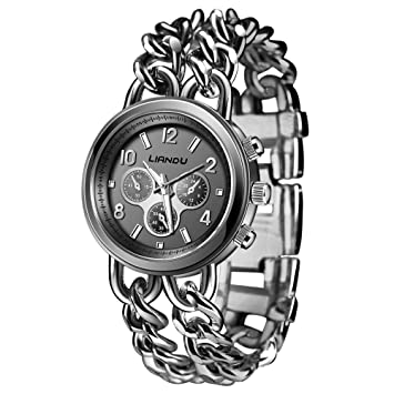 Amazon.com : Voberry Women Crystal Bracelet Lady Fashion Stainless Steel Analog Quartz Wrist Watch (Black) : Beauty