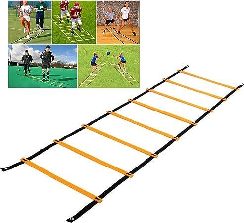 4M De Gimnasio Saltar Escalera, Fútbol Fútbol Entrenamiento De La Velocidad La Flexibilidad Mejora La Coordinación, Velocidad, Potencia De Salto con La Escalera Que Lleva Bolso Libre: Amazon.es: Hogar