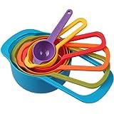 Jechery, Messbecher und Messlöffel aus Polypropylen in Lebensmittelqualität; platzsparendes, farbenfrohes Set - 6Stück