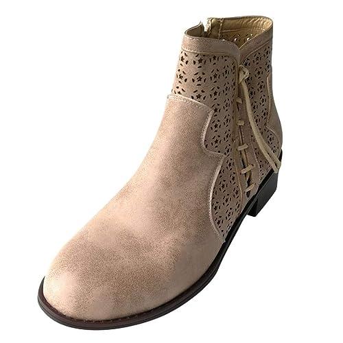 Stiefeletten Damen Schnürstiefeletten Blockabsatz Stiefel