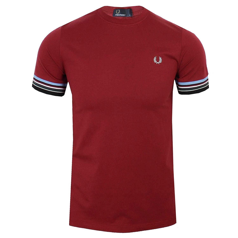 Fred Perry Hombres camiseta de rayas de puño m6528 106 Rojo XL ...