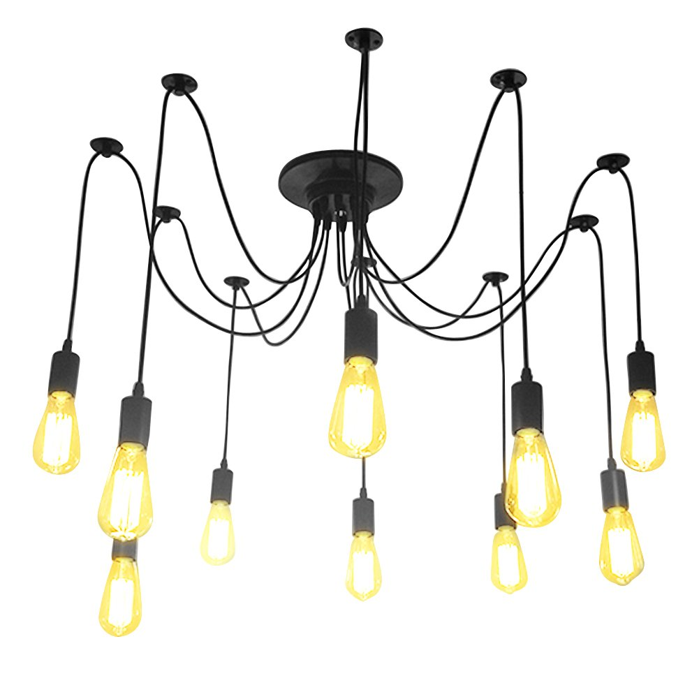 Fuloon Vintage Edison Multiple Ajustable DIY Ceiling Spider Lamp Light Pendant Lighting Chandelier Modern Chic Industrial Dining With Remote Control (10 head cable 180cm/70.9inch each)