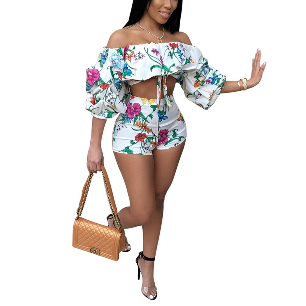 Blingdeals Womens Off The Shoulder Ruffle Floral Print Short Pantsuits Two Pieces Outfits
