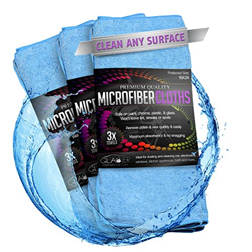 Glacier Microfiber Cleaning Cloth Safely and Easily Cleans Any Surface 3 Large 24X16 Blue