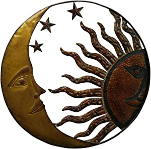 Benzara BM05395 Celestial Metal Sun Moon Wall Décor, Bronze Gold and Rust Red