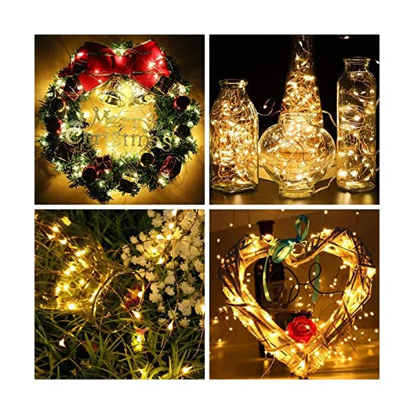 Vindany 2 Pezzi Stringa Luci LED - 33FT Catene Luminose Luci Natalizie USB e Batteria Impermeabile IP65 Fata Luci Decorative da Giardino Filo di Rame Luci Interne per Natale Festa 5 spesavip