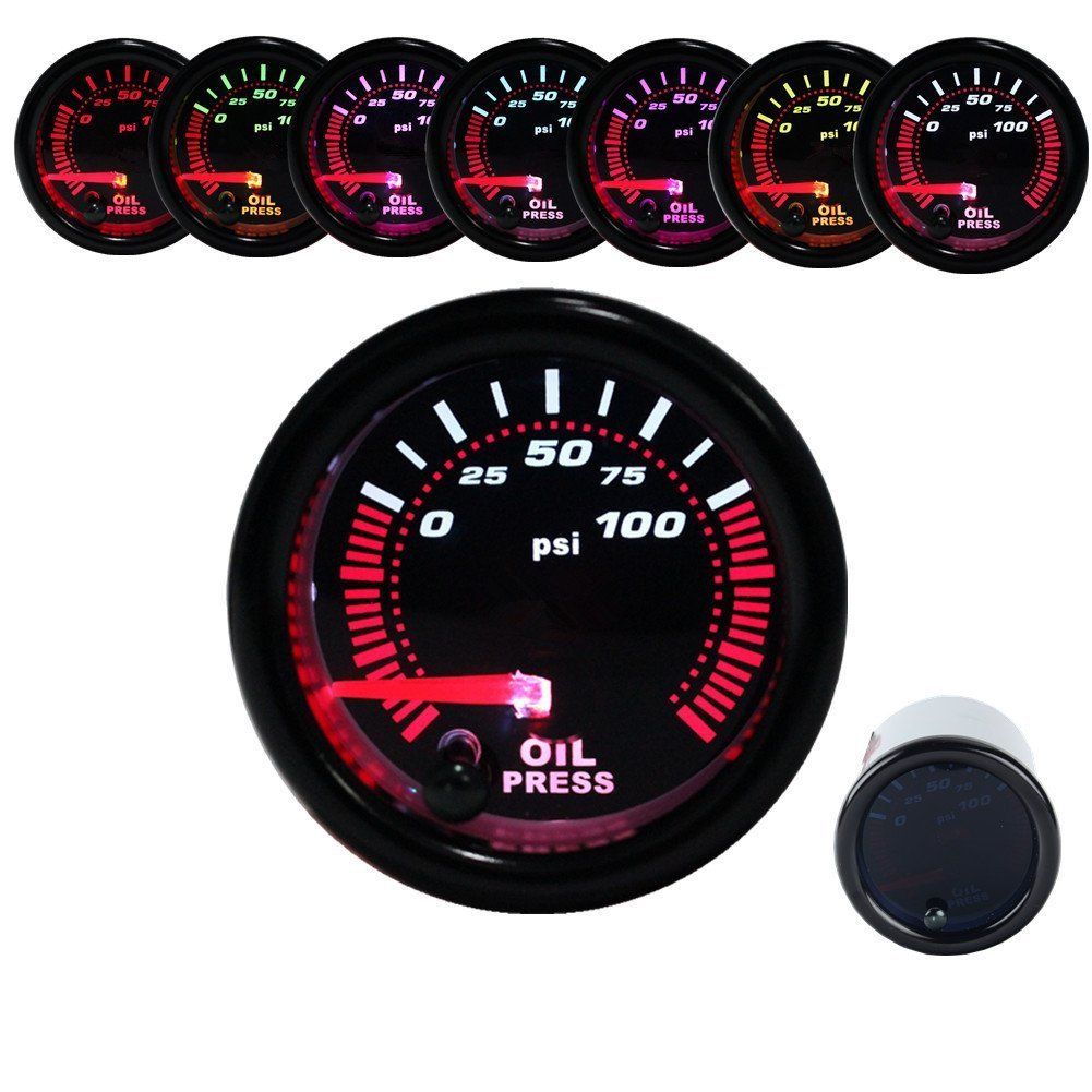 Dewhel Oil Press Pressure Gauge Universal Meter 7-Colors LED 52mm 12V 0-100 PSI W/ sensor