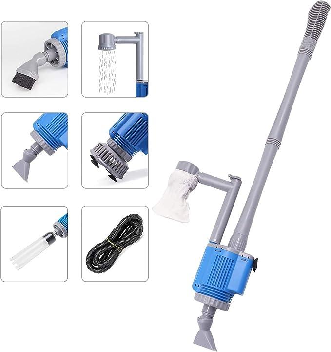 YuamMei Kit de limpiador de grava de acuario ajuste para limpieza de peque/ños tanques de peces y cambio de agua kit de bomba de limpieza de peces