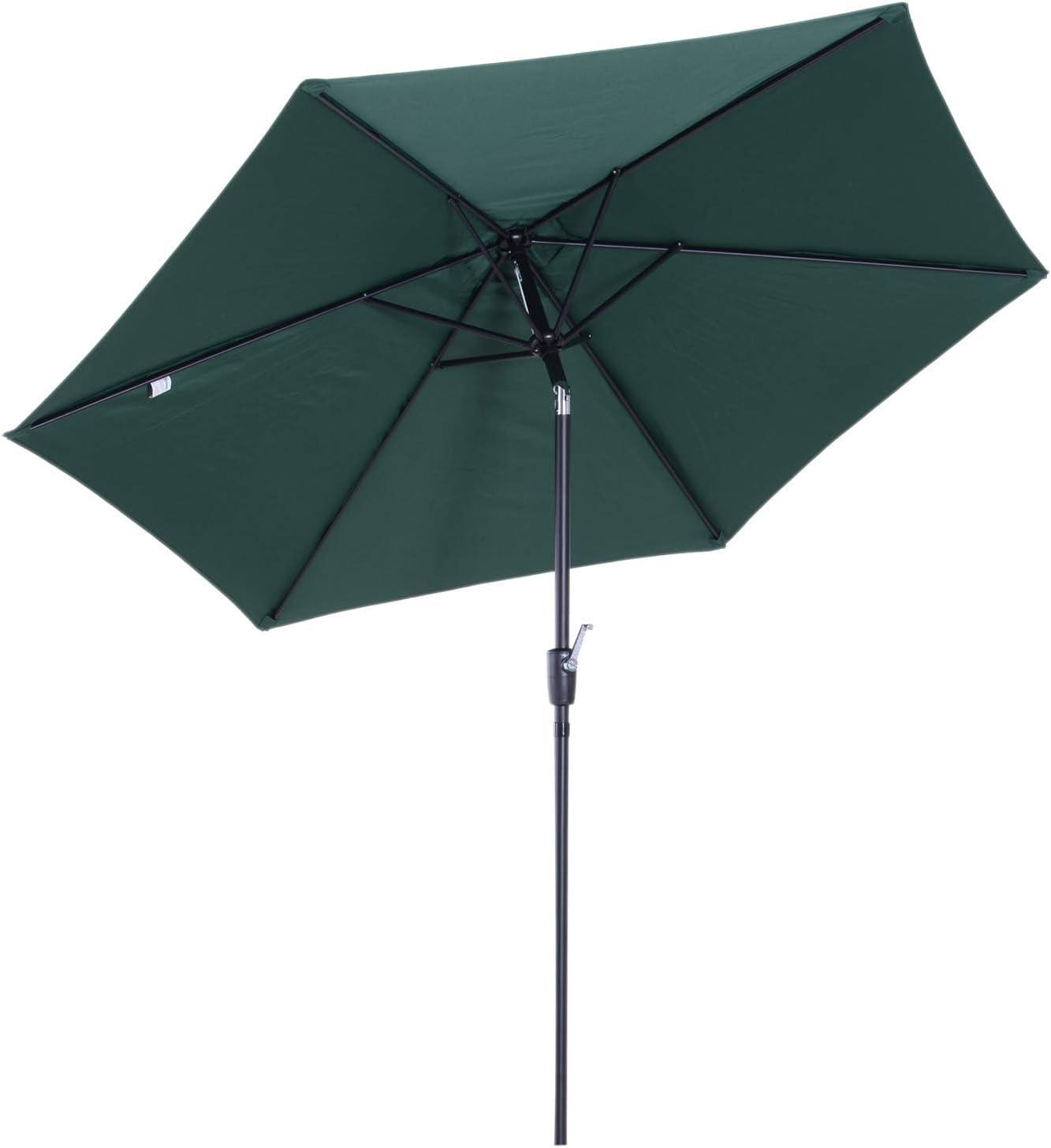 Outsunny Sombrilla Parasol para Jardín Patio Terraza Playa Piscina Reclinable con Manivela Protector UV Φ2.7x2.35m Aluminio: Amazon.es: Jardín