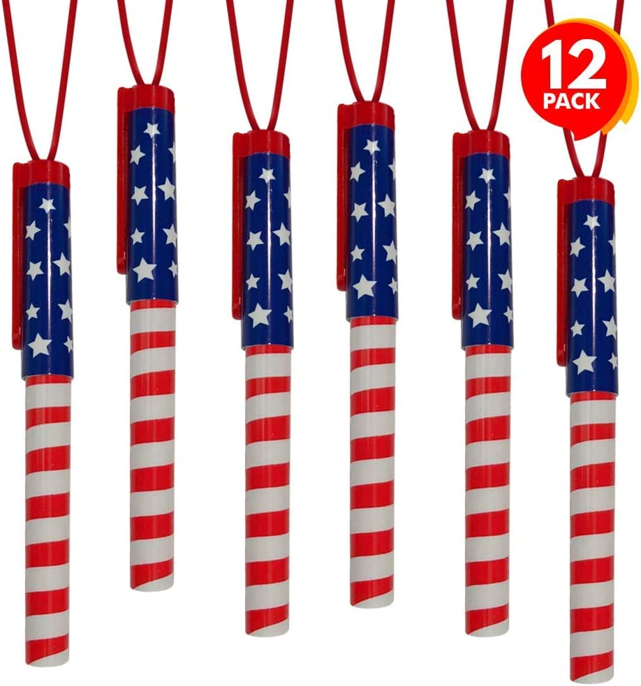 ArtCreativity Patriotic Pen Necklaces, Pack of 12, July 4th Party Favors, Red, White and Blue Patriotic Accessories with Stars and Stripes, Back to School and Office Supplies for Kids and Adults