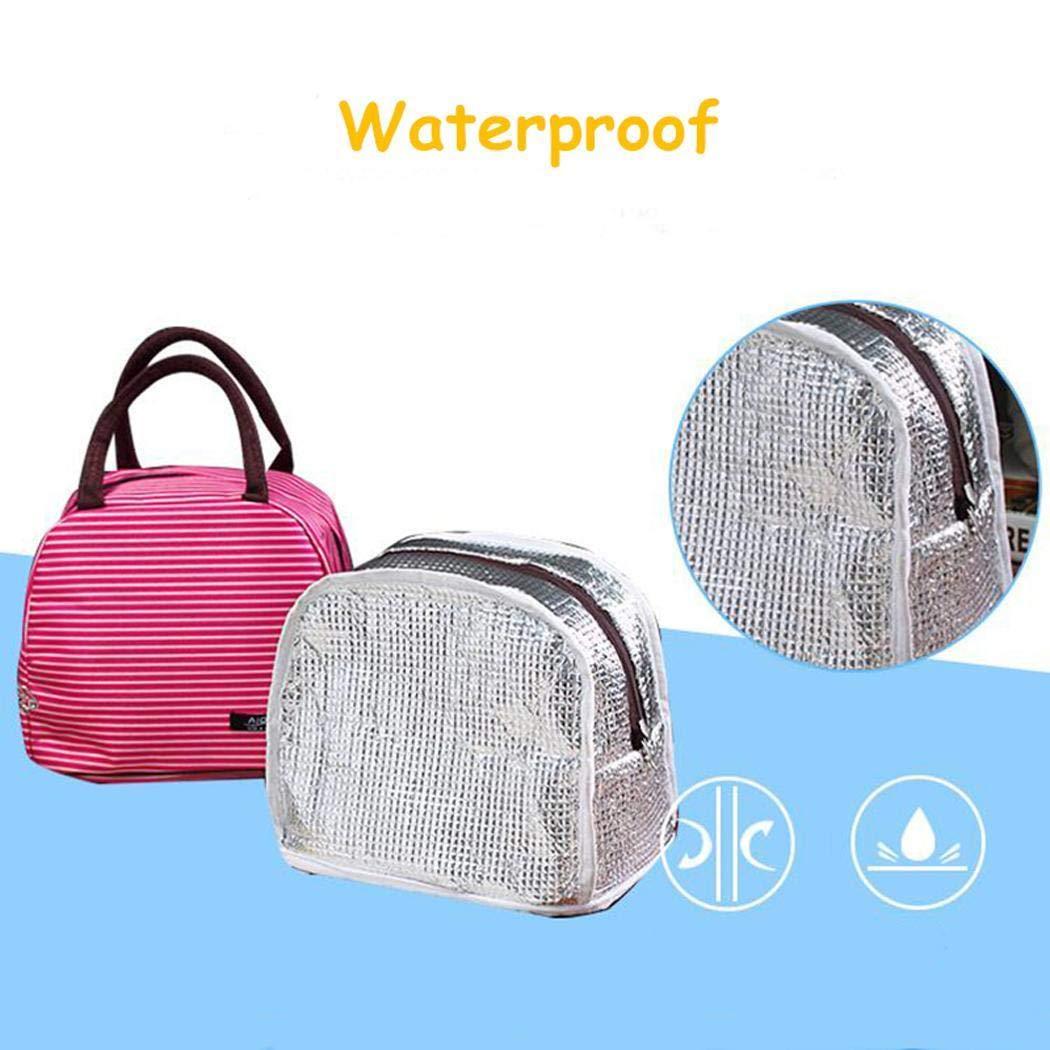 Gfone Portable Waterproof Lunch Box Bag Striped Zipper Insulation Bag Satchels