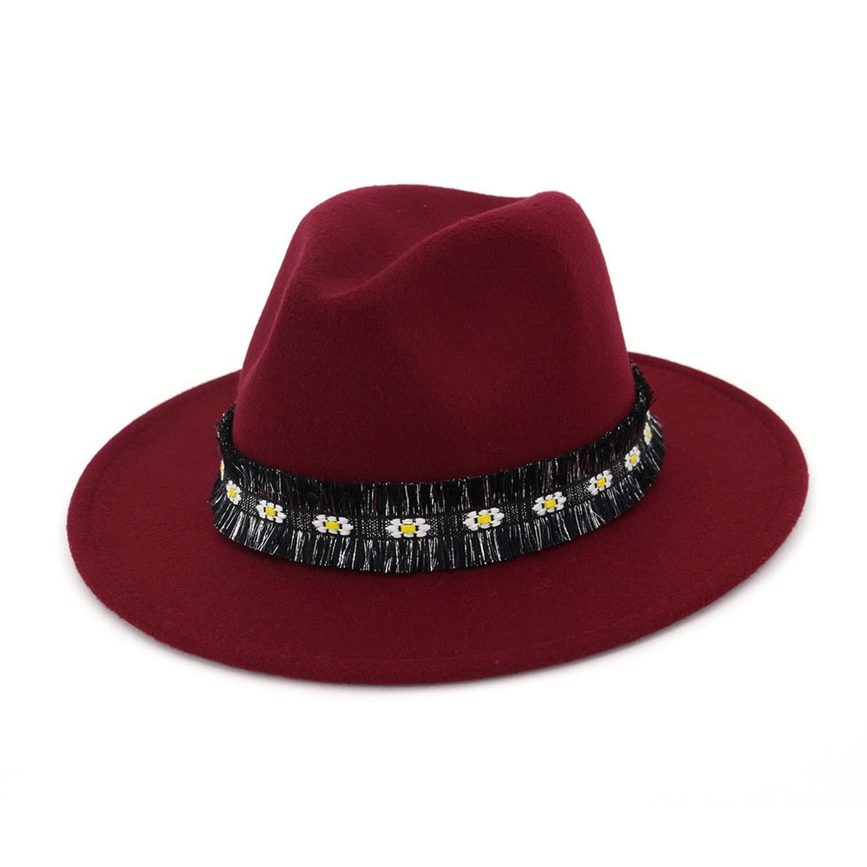 Autumn Winter Women Men Fedora Hats Felt Top Wide Brim Trilby Hats with Flower Ribbon