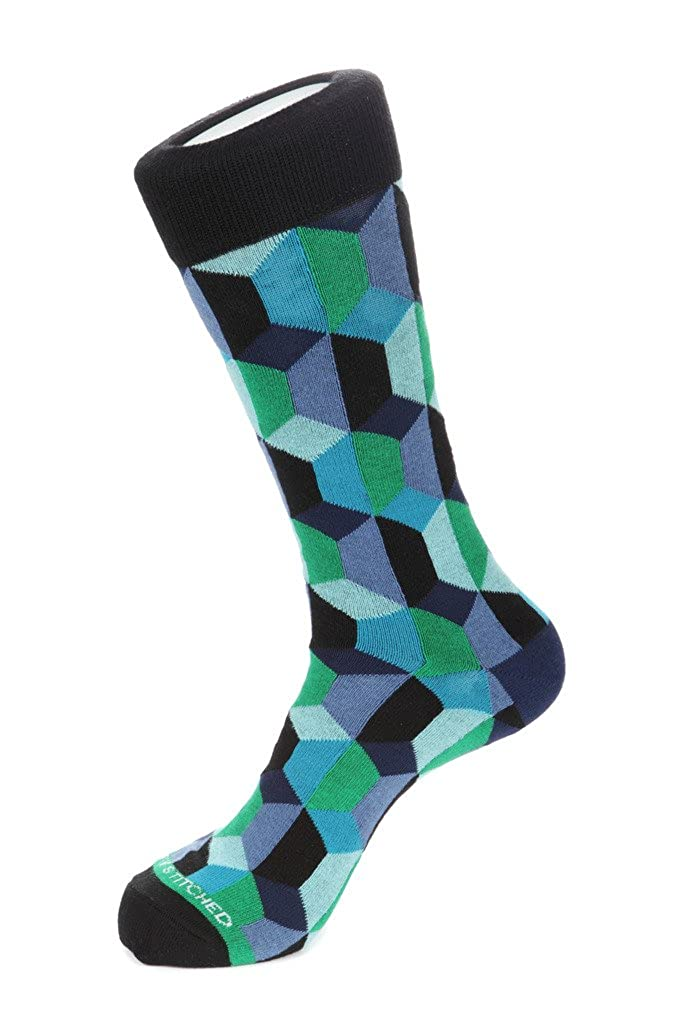 Unsimply Stitched Geo BlocksCrew Sock Fits Size 8 to 13 Green//Blue