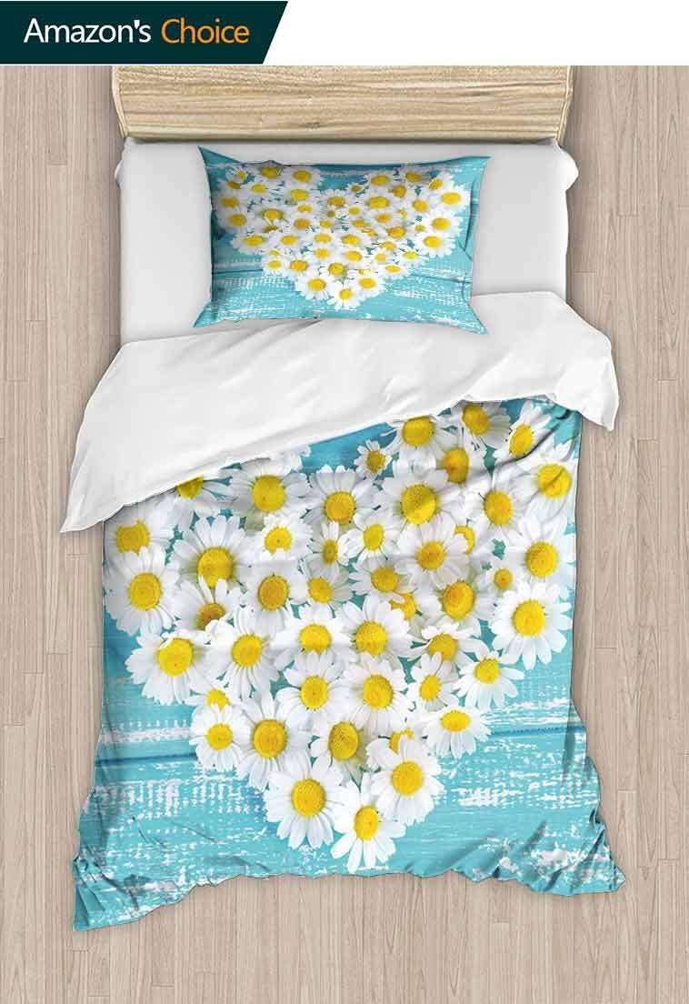 Yellow and Blue Printed Quilt Cover and Pillowcase Set, Heart Shaped Daisy Flowers Romantic Love Valentine, Bedding Set with Zipper Ties 1 Duvet Cover 1 Pillow Sham Ultra Soft Luxurious Breathable