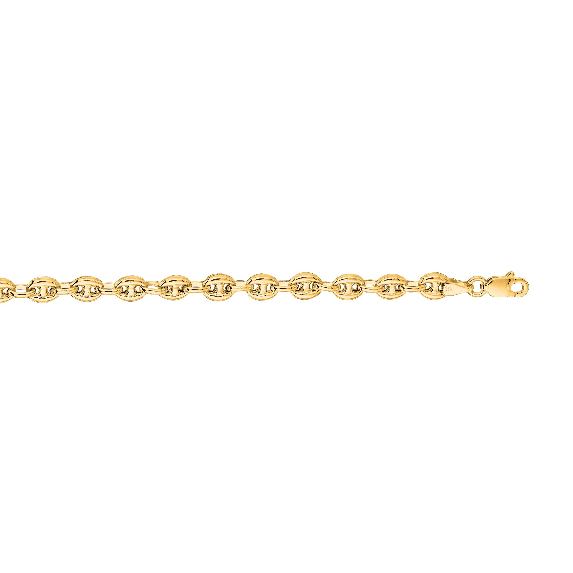 IcedTime 14K Yellow Gold 4.5mm wide Diamond Cut Puffed Mariner Link Chain 10'' Anklet Lobster Clasp