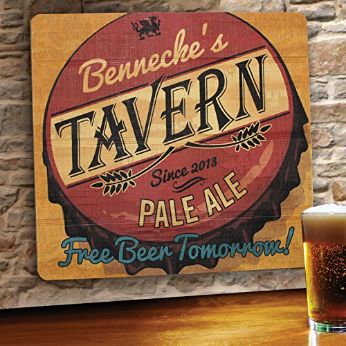 Personalized Wood Home Bar and Tavern Sign - Free Beer Tavern Wood
