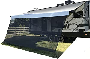 Tentproinc RV Awning Sun Shade 8'X11'3'' Black Mesh Screen Sunshade Complete Kits Motorhome Camping Trailer UV SunBlocker Canopy Shelter - 3 Years Limited Warranty