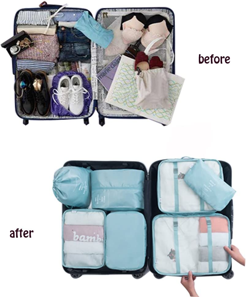 FH 6Pcs Packing Cubes Travel Luggage Packing Organizers Laundry Shoe /& Toiletry Bag light blue