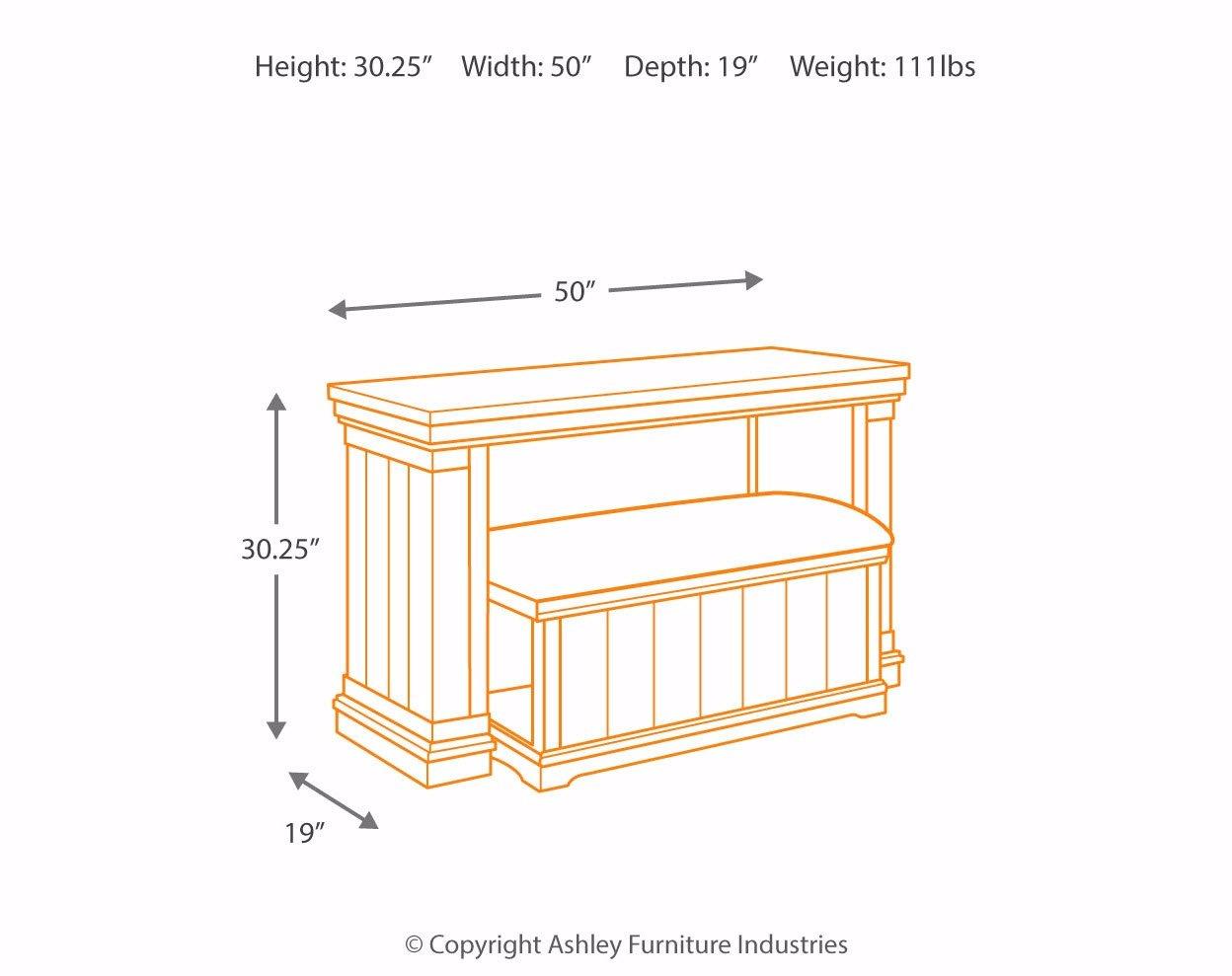 Ashley Furniture Signature Design - Merihill Sofa Console Table with Ottoman - Rectangular - Medium Brown