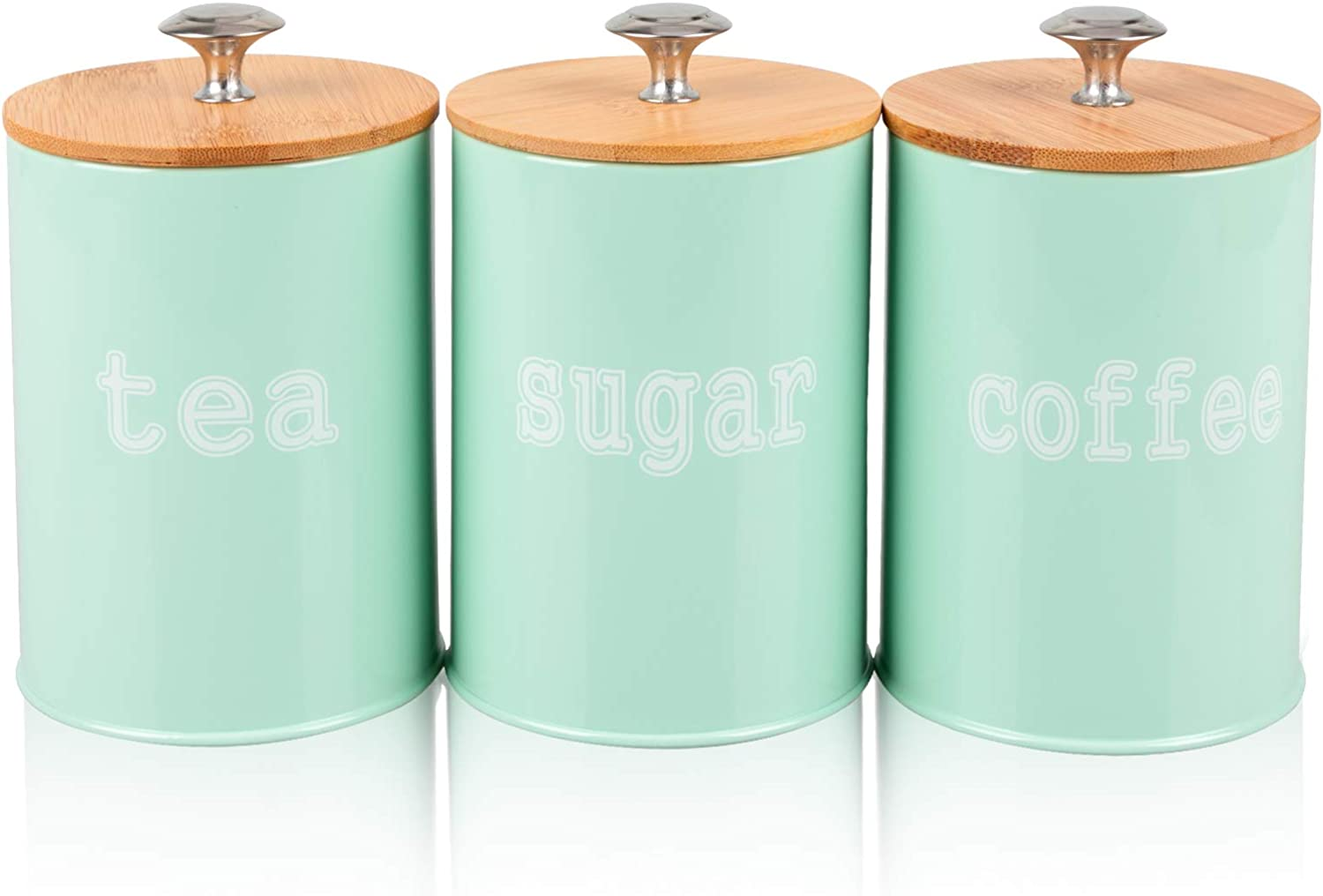DAILYLIFE Set of 3 Metal Food Storage Tins With Bamboo Lid for Sugar Tea Coffee Canisters Jar Green