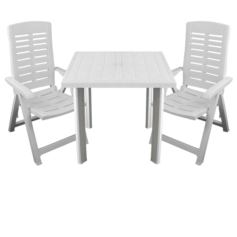 Multistore 2002 3tlg. Gartenmöbel Set Kunststoff Gartentisch 80x75cm + 2X Klappsessel 5-Fach verstellbar Sitzgruppe Sitzgarnitur Weiß
