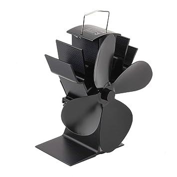 Ballylelly Durable 4 aspas de Aluminio Negro Estufa de Calor Desarrollado Ventilador Estufa Ventilador de Ahorro de Combustible: Amazon.es: Jardín