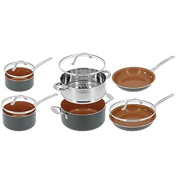 Gotham Steel - Batería de cocina de 10 piezas, incluye olla, sartenes y cacerolas: Amazon.es: Hogar