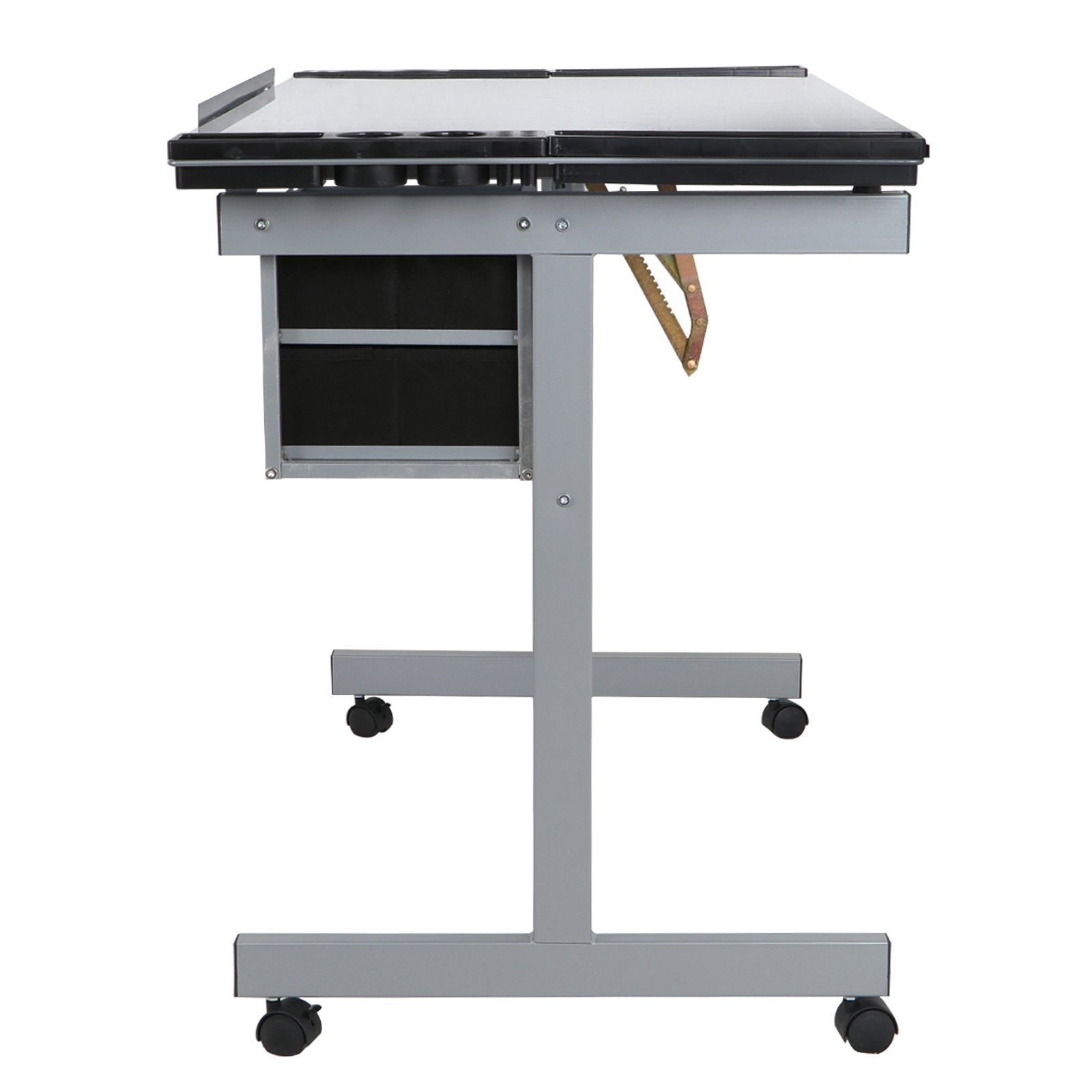 ZENY Glass Top Adjustable Drawing Desk Craft Station Drafting Table Tempered Glass Top Art Craft Desk w/2 Slide Drawers and Wheels by ZENY