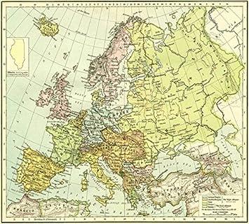Amazon.com: Imagekind Wall Art Print entitled Vintage Map Of Europe ...