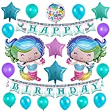 Mermaid Glitter Happy Birthday Banner 28inch Helium Balloons Party Supplies Decorations Cute Foil Star Latex Balloons for Girls Kids
