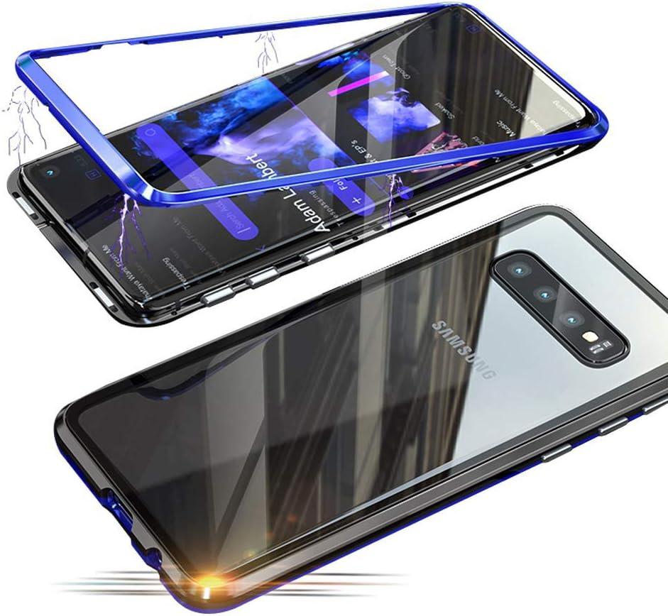 Fantasyqi Fundas Compatible con Samsung Galaxy C9 Pro Funda 360 Grados Ultra Delgado Transparente Vidrio Templado Cubierta Posterior Adsorción Magnética Parachoques de Metal: Amazon.es: Electrónica