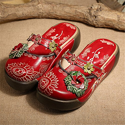 Walking Slip Flat Oxford Women's Clog Loafer Mule Leather Red Casual Slipper gracosy On Shoes Comfort Sandal UPqtY