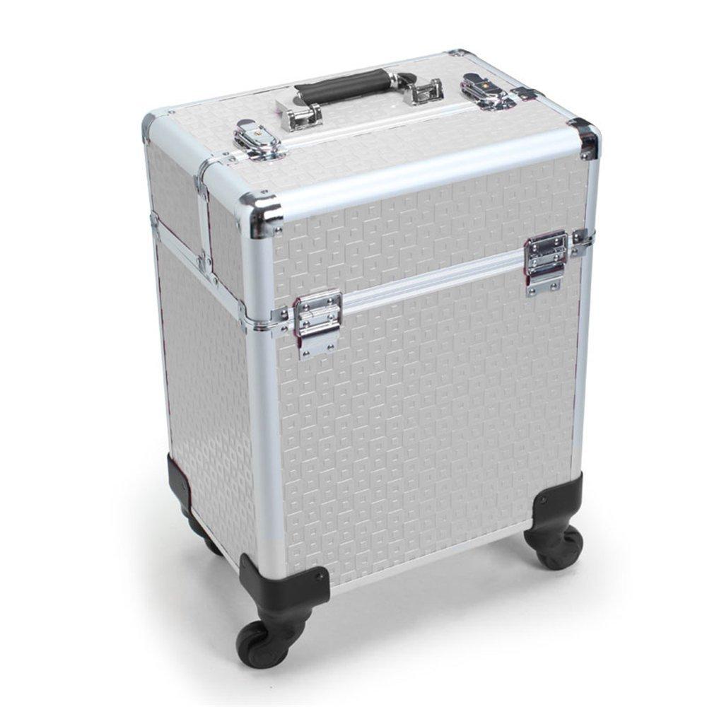SAILUN® Cosmetic Case Beauty Maquillaje Trolley con ruedas telescópicas y dobles 340 * 240 * 410mm (Plata)